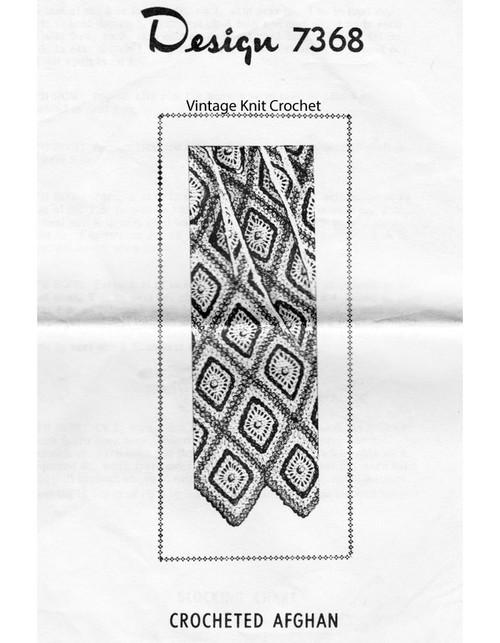 Crochet Diamond Afghan Pattern, Mail Order Design 7368