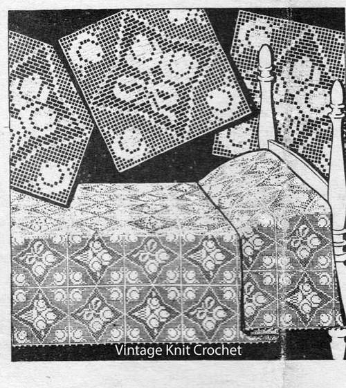 Rose Filet Crochet Bedspread Pattern, Design 1420