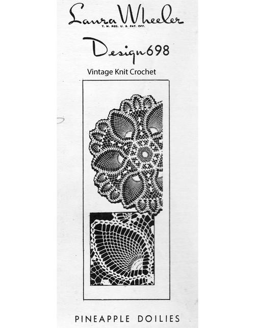 Crochet Pineapple Wheel Doilies Pattern, Mail Order 698