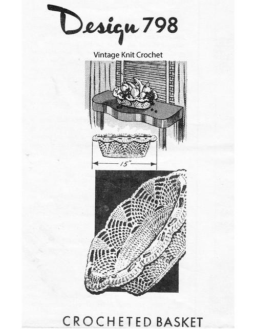 Crochet Short Basket Pattern, Design 798