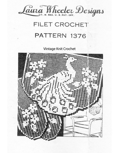 Peacock Filet Crochet Chair Set, Laura Wheeler 1376