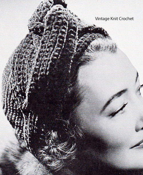 Easy Knitted Turban, crocheted crown, vintage 1942