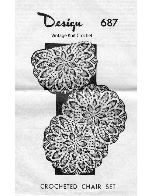 Crochet Pineapple Chair Doily Pattern, Mail Order 687