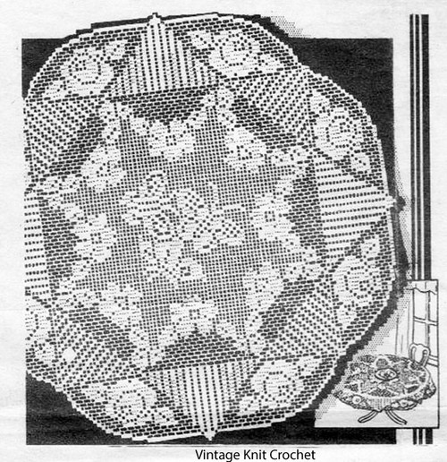 Rose Filet Crochet Cloth pattern, Laura Wheeler 2029