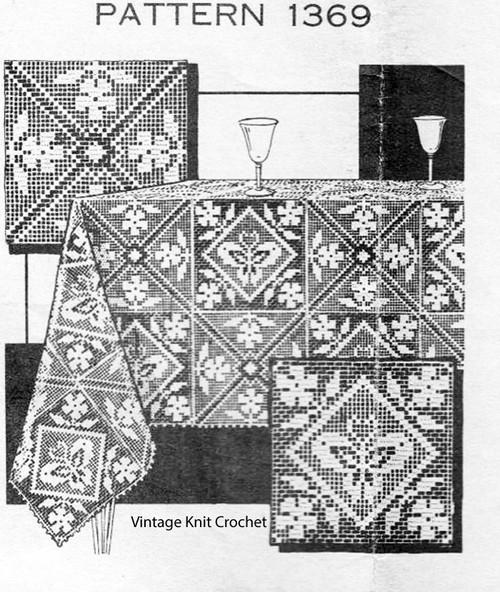 Filet Crochet Butterfly Flower Squares Pattern, Laura Wheeler 1369