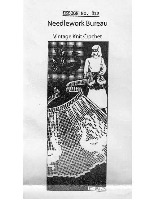 Filet Crochet Peacock Apron Pattern, Needlework Bureau E-812