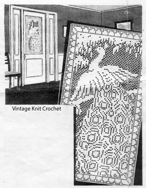 Peacock Filet Crochet Door Panel, Laura Wheeler 1987