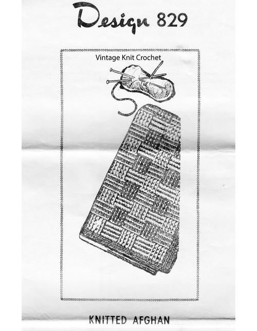 Jumbo Knit Afghan Pattern, Mail Order Design 829