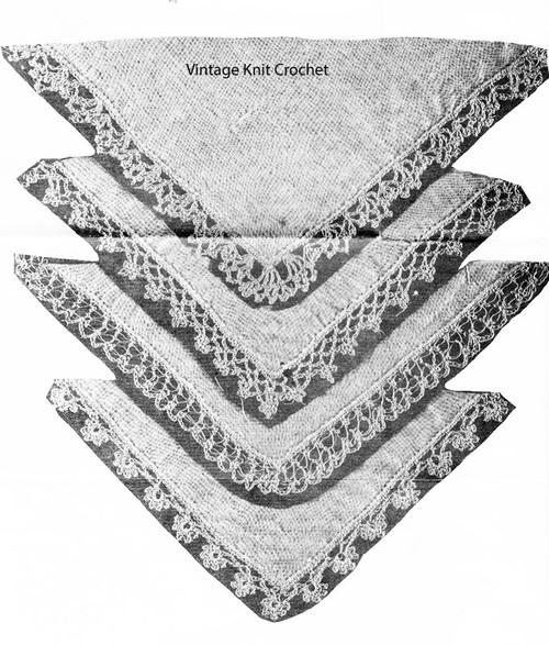 Crochet Flower Motif Edgings Pattern No E-1107