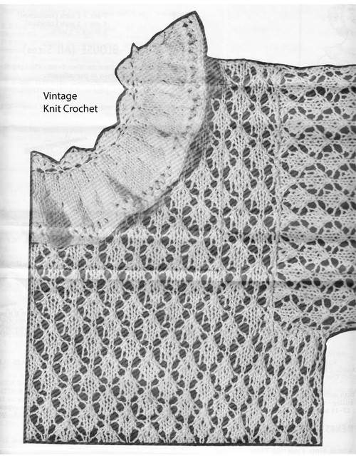 Knitted Lace Blouse Pattern Illustration, Design 759