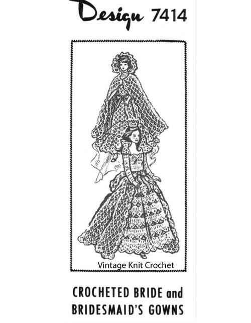Crochet Barbie Brides Dress Pattern Design 7414