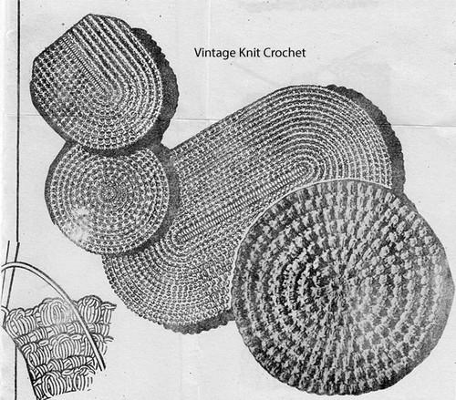 Crochet round oval rug pattern, vintage rag rug motif No 861