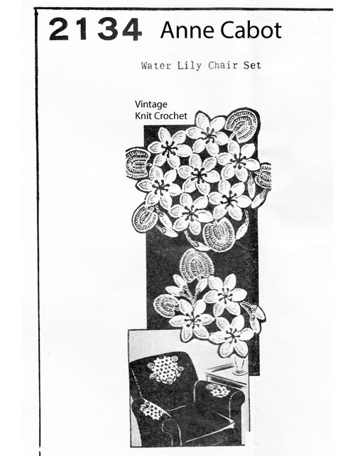 Water Lily Crochet Chair Set Pattern, Mail Order 2134