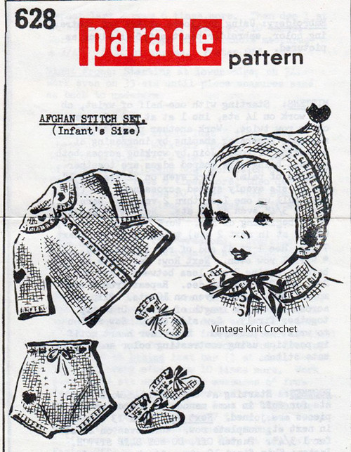 Crochet Infant Set in Afghan Stitch, Parade Pattern No 628