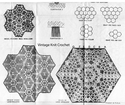 Crochet Hexagon Medallion Pattern, Laura Wheeler 2283