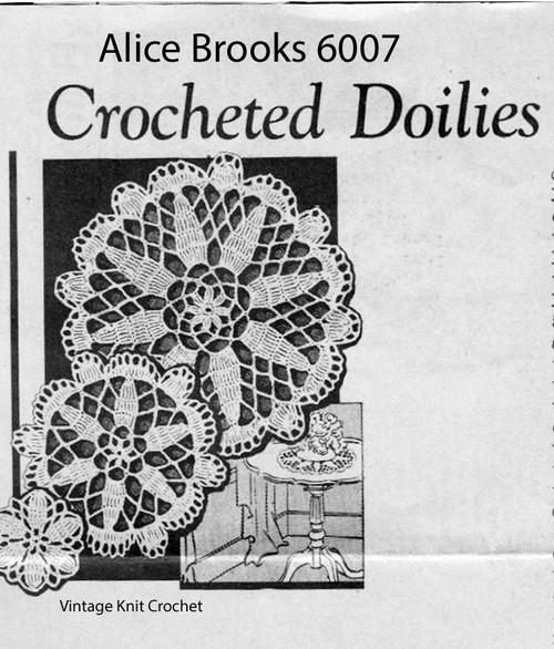 Vintage Flower Doilies Crochet Pattern, Mail Order 6008