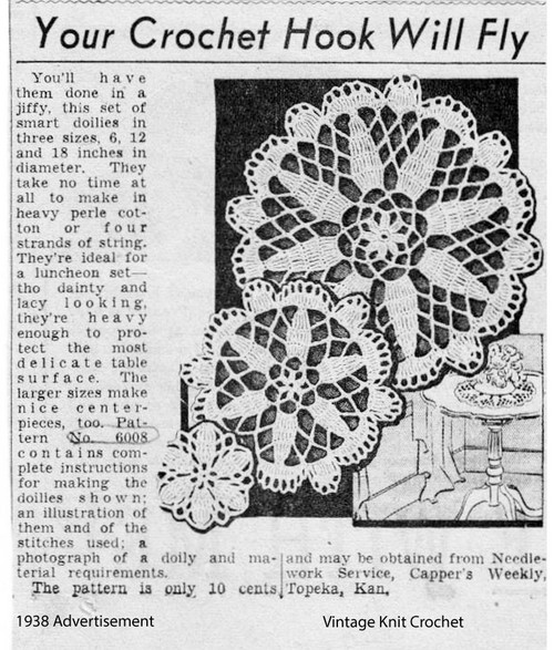 Vintage Crochet Doily Mail Order Advertisement No 6008