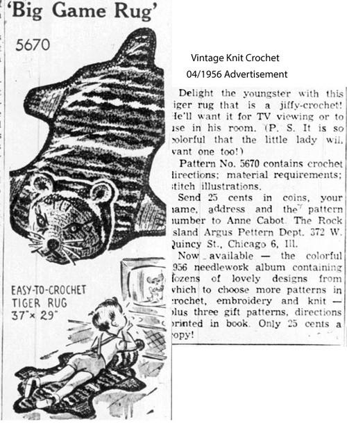 Mail Order Childs Crochet Rug Pattern 5670 newspaper clip