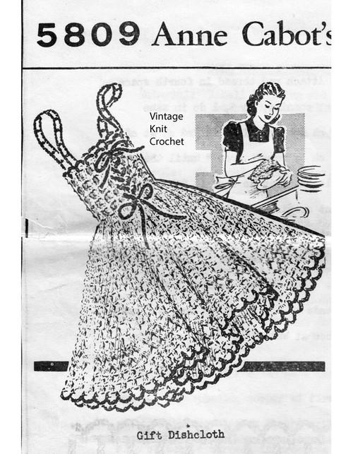 Crochet Dress Dishcloth Pattern No 5809