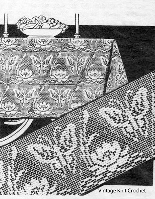 Filet Crochet Triangles, butterfly, pond lily, Design 1698