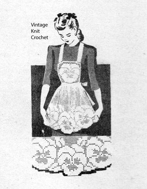 Vintage filet crochet apron pattern, Pansy Motif, Laura wheeler 696