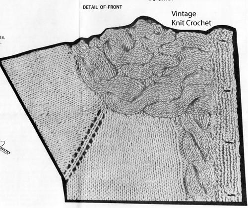 Cable pattern stitch illustration, Design 591