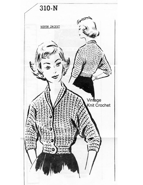 Filet Crochet Woven Jacket Pattern No 310