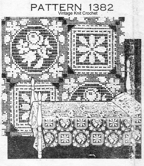 Vintage Filet Companion Squares Pattern, Mail Order 1382