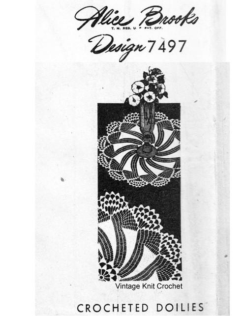 Crocheted pinwheel doilies, Alice Brooks 7497