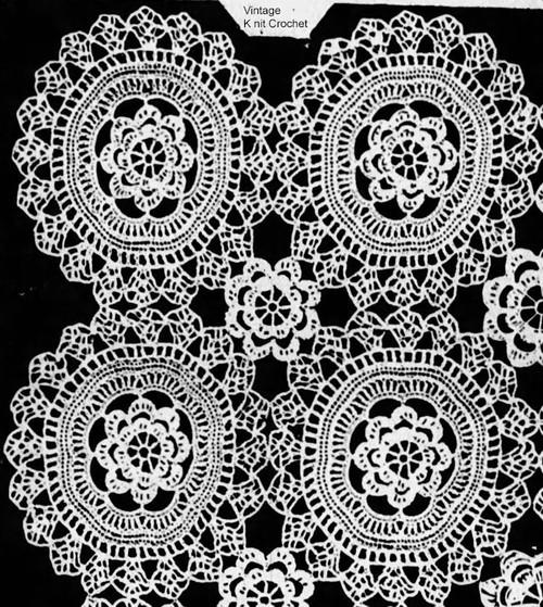 Vintage Wild Rose Crochet Medallion Pattern No 838