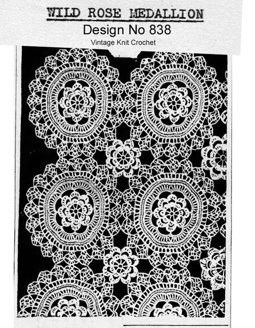 Crochet Wild Rose Tablecloth Pattern Design 838