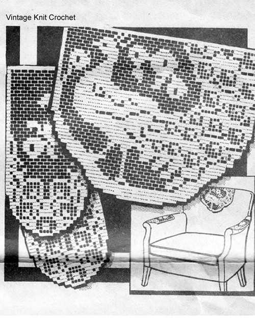 Peacock Filet Crochet Pattern, Chair Set No 6108