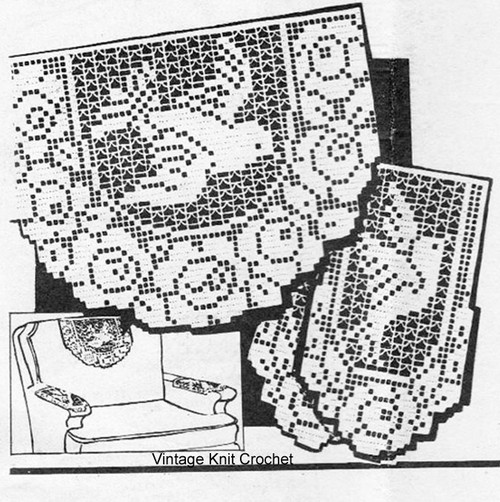 Filet Crocheted Dove with Roses pattern, American Weekly 3646