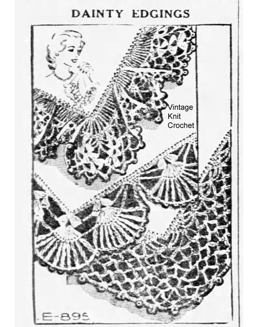 Crochet Spanish Fan Edging Pattern Design E-895