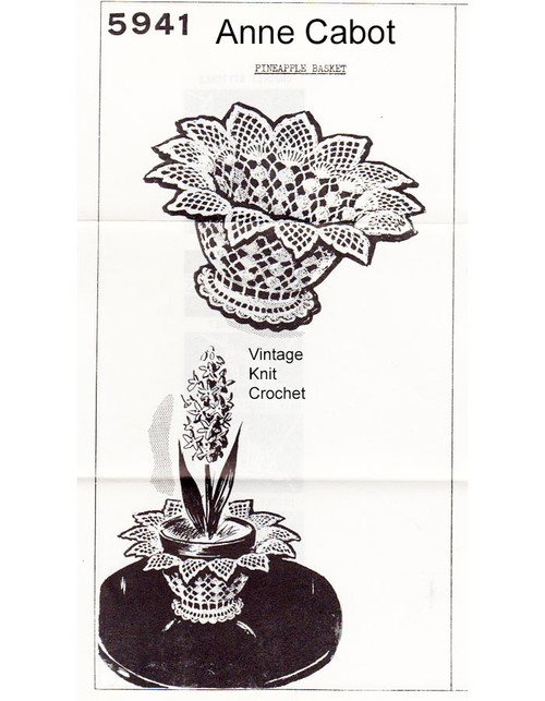 Small Pineapple Basket Crochet Pattern, Mail Order 5941