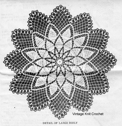 Large Chrysanthemum Doily Pattern Detail, American Weekly 3068