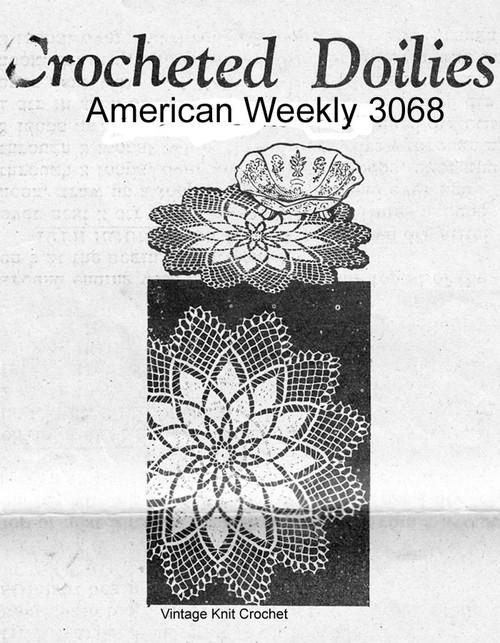 Chrysanthemum Crochet Doilies Pattern Small Large Design 3068
