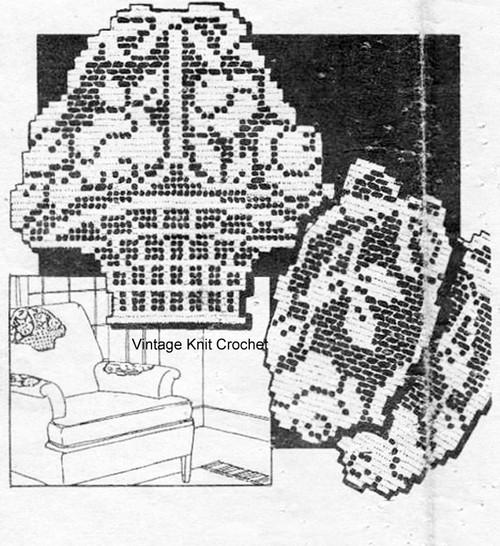 Rose Basket Filet Crochet Pattern, Design 1584