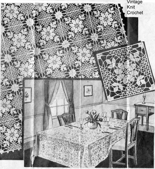 Laura Wheeler 2422, Crochet Tablecloth Pattern  Vintage 1939