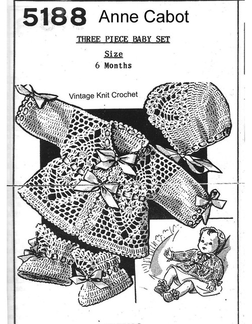 Crochet Baby Jacket Pattern Set, Anne Cabot 5188