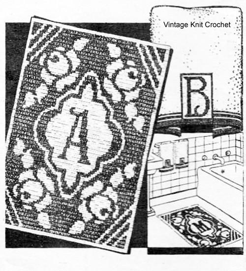 Laura Wheeler Filet Crochet Rug Pattern, Rose Initials Motif