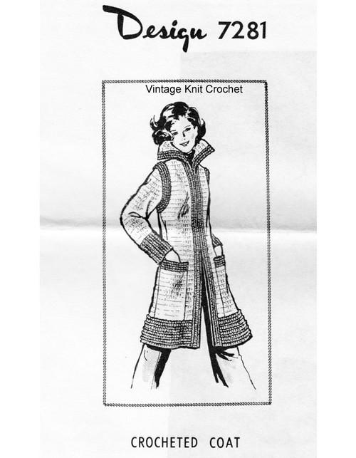 Long Crochet Coat Pattern, Alice Brooks 7281