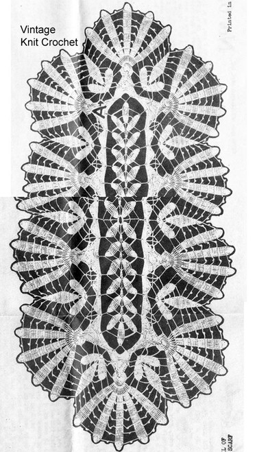 Vintage Crochet Runner Pattern Stitch Illustration Design 6717