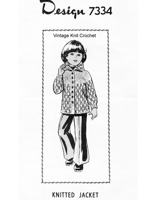 Girls Knitted Coat Pattern Design 7334