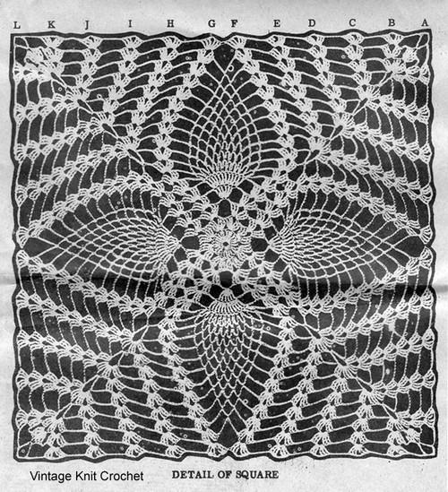 Crochet Pineapple Geometric Square Illustration Design 7048