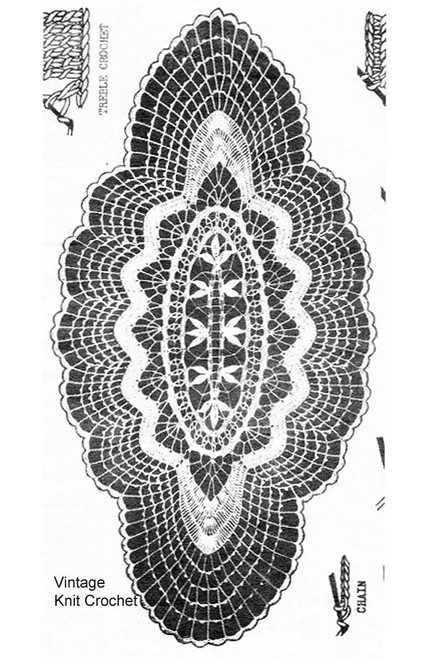 Alice Brooks Oval Crochet Runner Pattern Illustration Design 6301