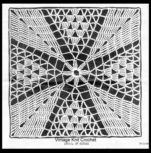 Southern Beauty Crochet Square Illustration, Design 6714