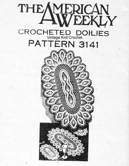 Oval Crochet Luncheon Set Pattern American Weekly 3141