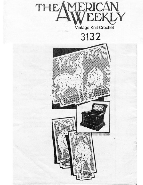 Deer filet crochet chair doily pattern No 3131