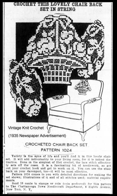 1935 Newspaper ad for Laura Wheeler 1024, Filet Crochet Chair Set Pattern
